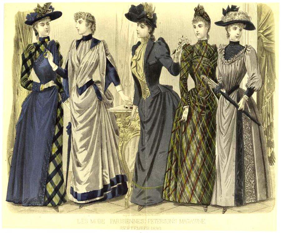 Платья в модных иллюстрациях второй половины XIX века