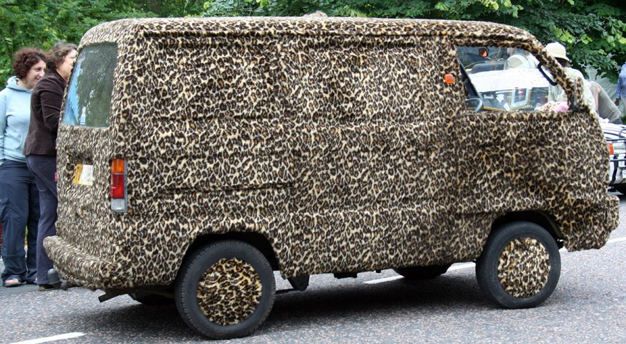 Меховой леопардовый автомобиль