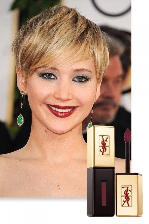Темная глянцевая губная помада и макияж знаменитостей
