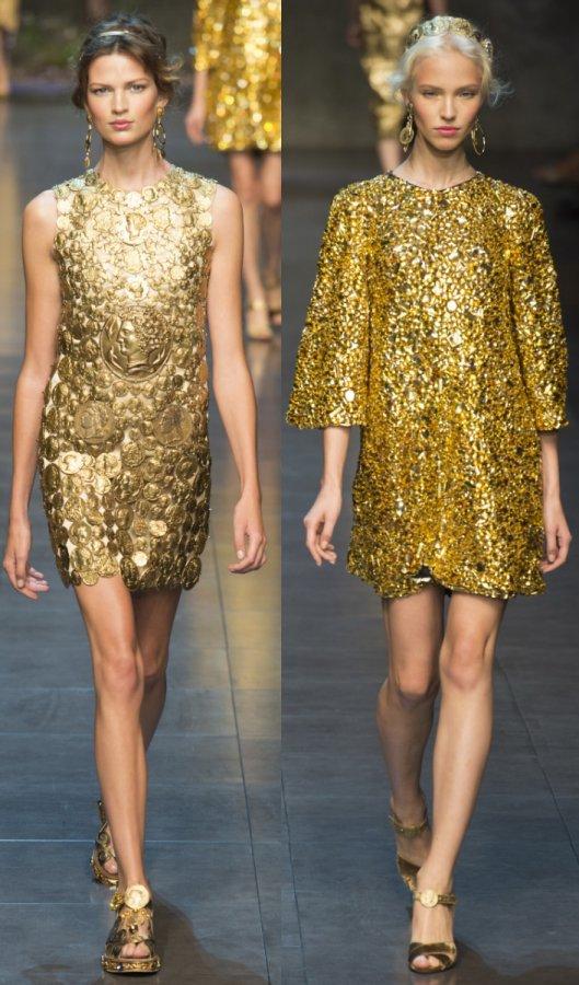 Золотые платья весна-лето 2014