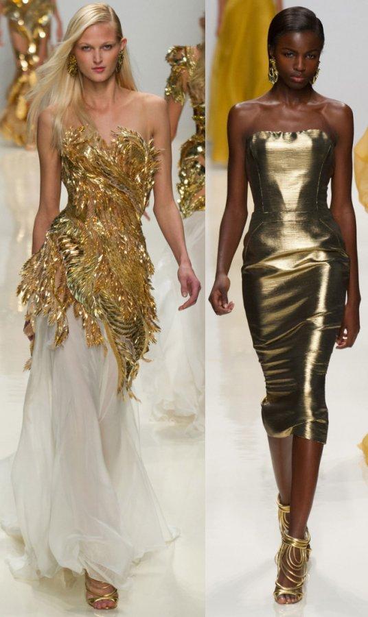 Красивые золотые платья