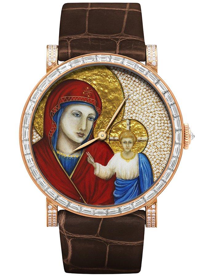 Золотые часы с иконой Богородицы
