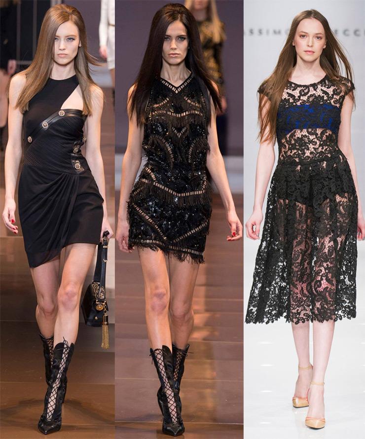 Модные черные платья 2014-2015