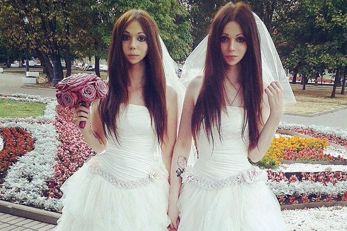 Девушка с парнем в свадебном платье