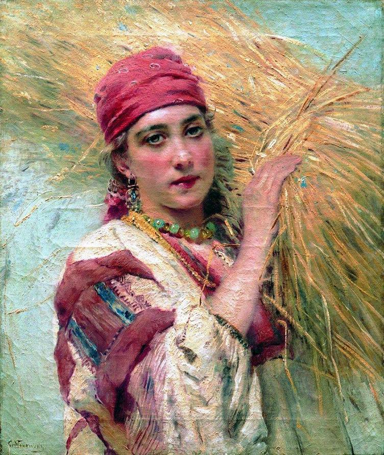 Девушка со снопом сена