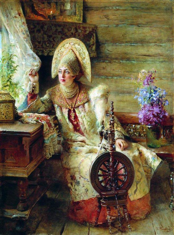 Девушка с прялкой