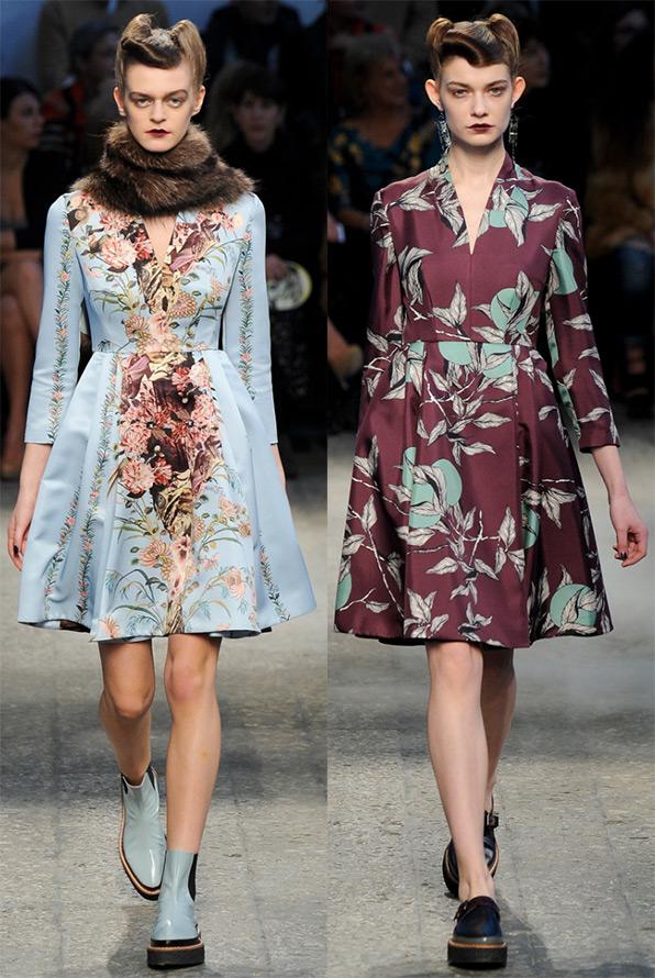 Платья с цветами на осень и зиму