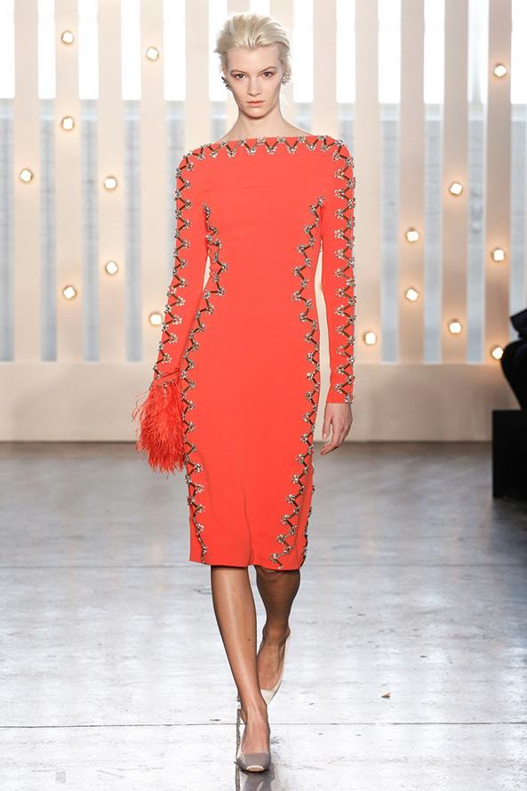 коралловое платье осень-зима 204-2015
