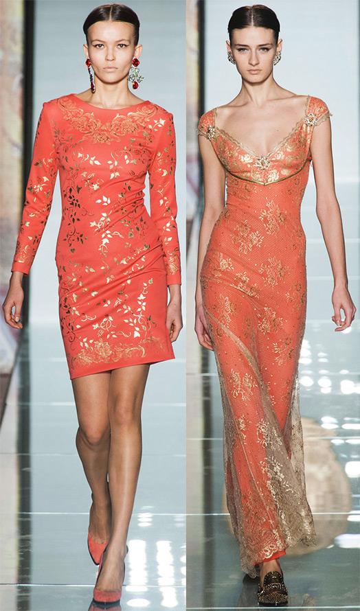 коралловые платья осень-зима 204-2015