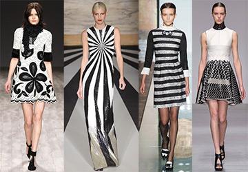 Черно-белые платья на осень и зиму