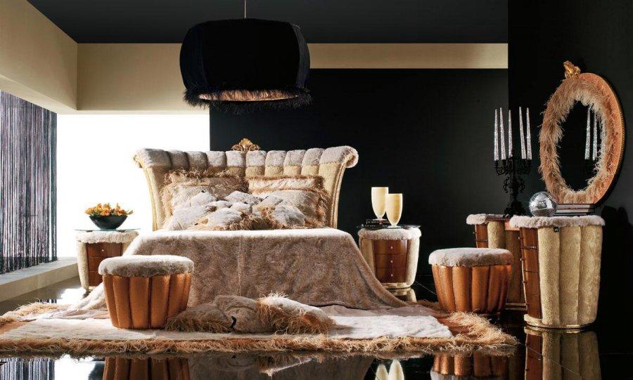 Спальня в стиле темный гламур