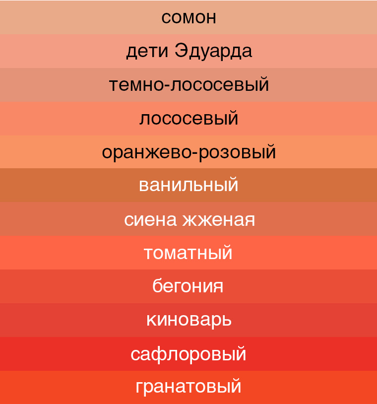 оттенки красного