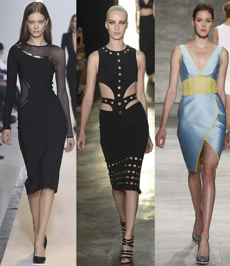 Открытый живот у модных платьев