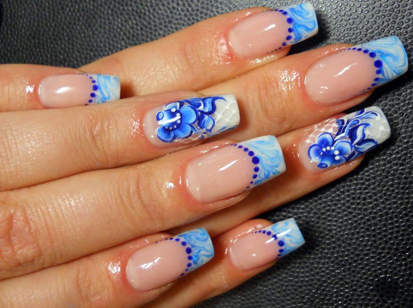 Гжель и красота ногтей