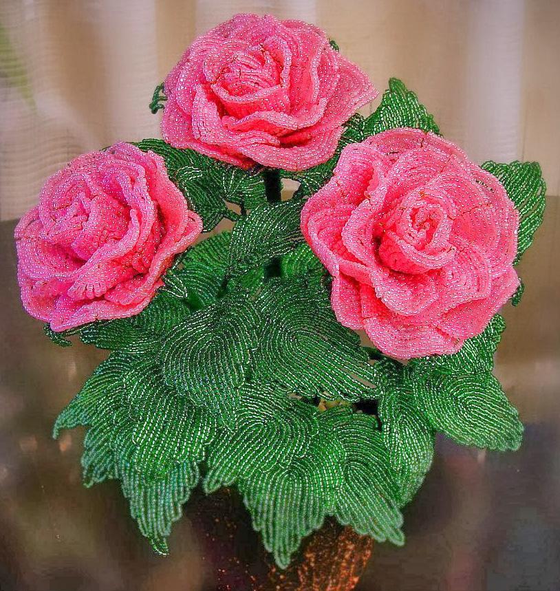 Фото цветков из бисера