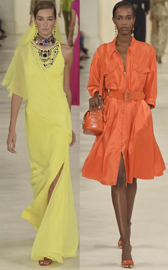 Оранжевые и желтые платья весна-лето 2015