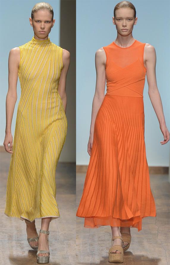 Оранжевые и желтые платья Salvatore Ferragamo