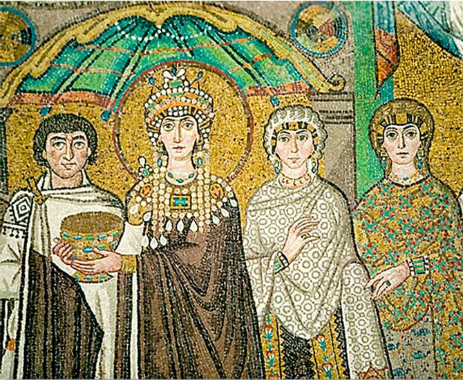 Прически Византии на фресках