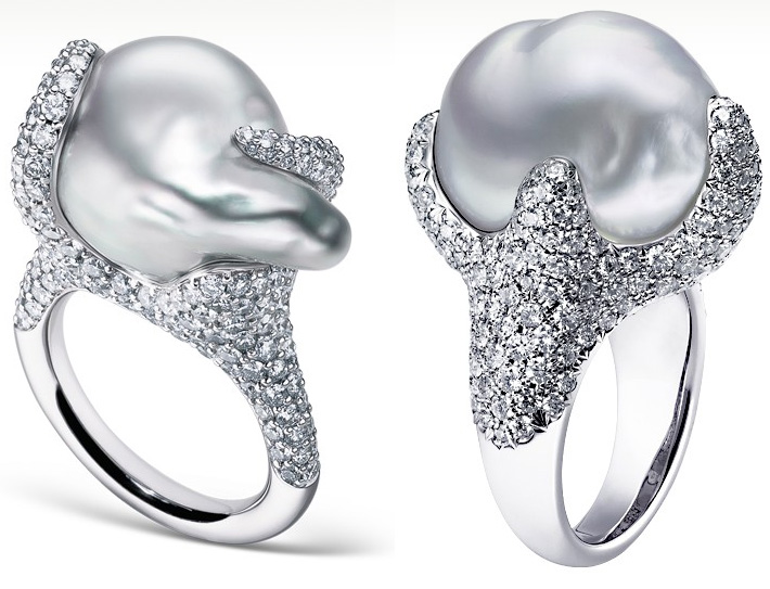 Кольца с жемчужинами Mikimoto