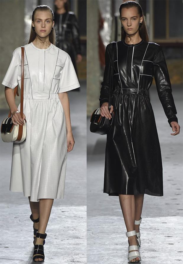 Кожаные платья весна-лето 2015