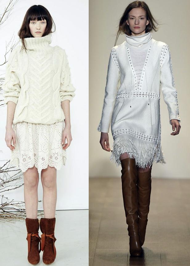 Белый свитер и белое платье