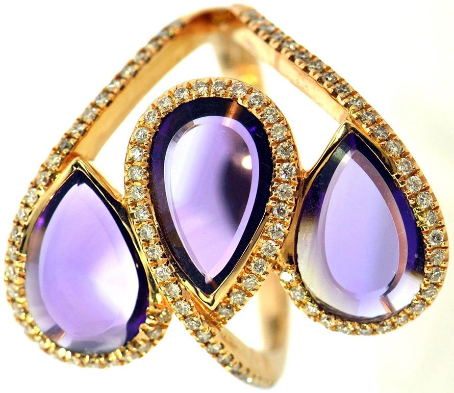 Кольцо с натуральным камнем аметист