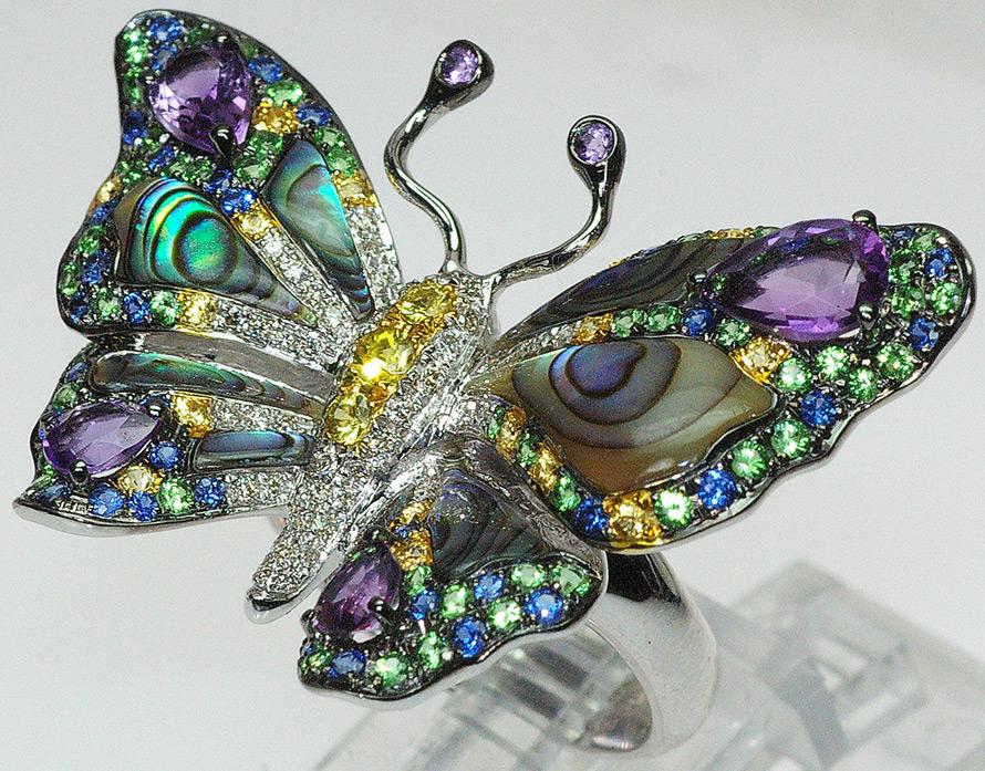 Кольцо – бабочка с аметистами