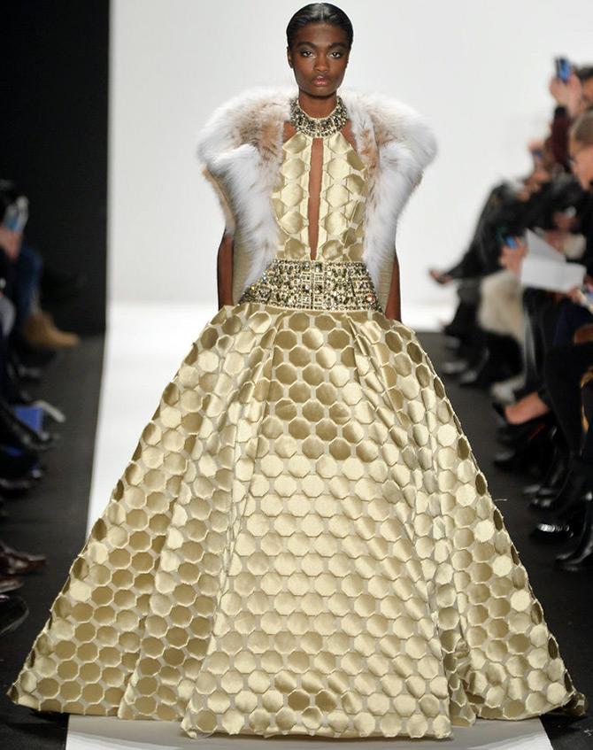 Платье с мехом Dennis Basso