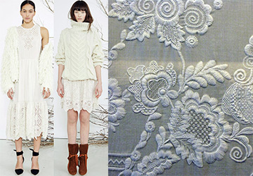 Вышивка белая гладь для украшения одежды