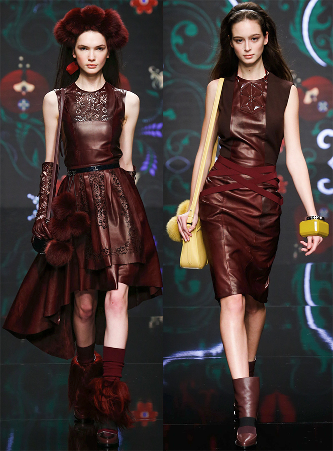 Кожаные платья осень-зима 2015-2016