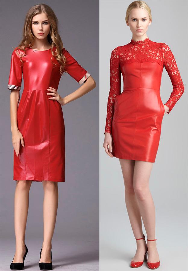 Красные кожаные платья