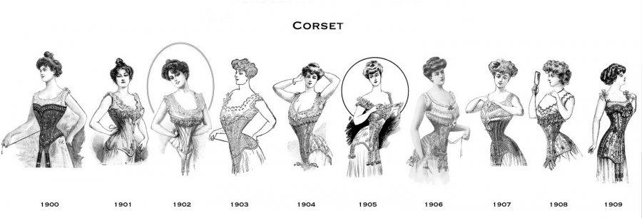 корсеты в одежде 1900-е