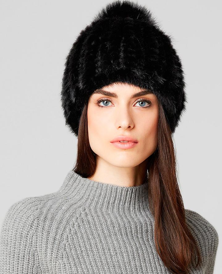 Модные шапки из вязаного меха