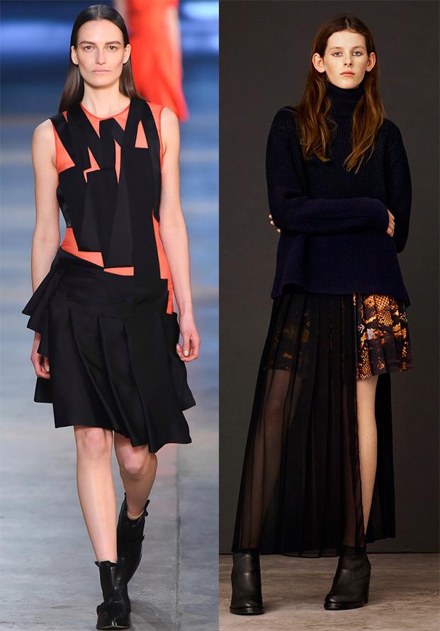 Складки на платьях и юбках из коллекций 15-16