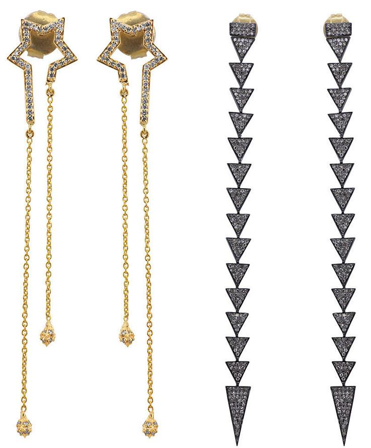 Длинные серьги с бриллиантами