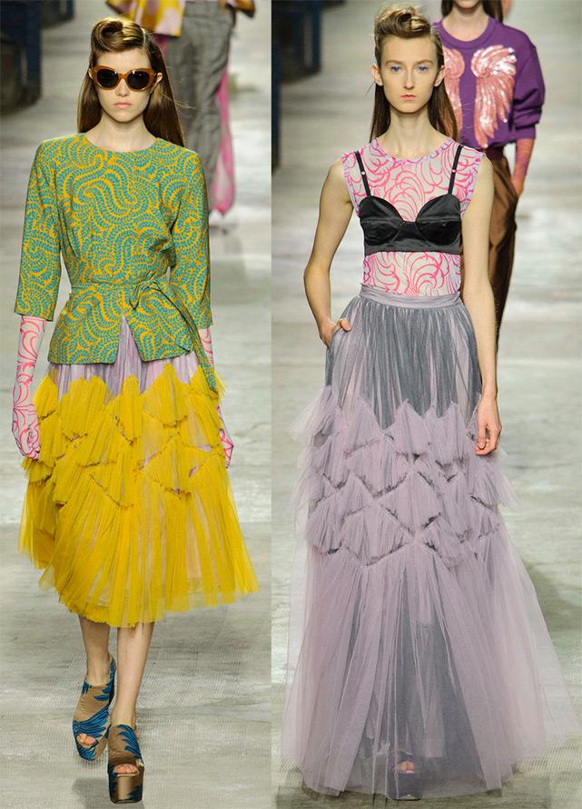 Модные многослойные и прозрачные юбки 2016