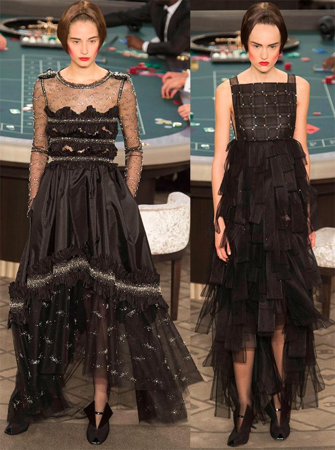 Черно-серебристое платье