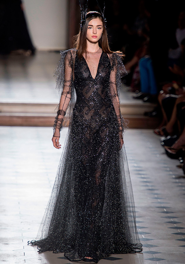 Черно-серебристое вечернее платье