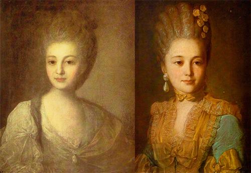Портреты женщин XVIII века художника Рокотова