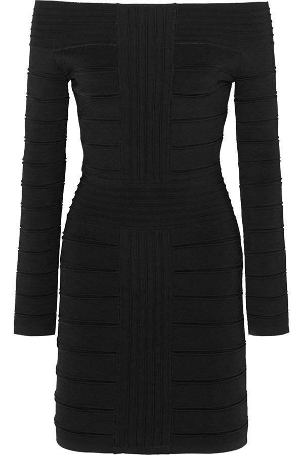 Черное бандажное платье Balmain