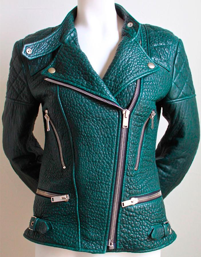 Зеленая кожаная куртка Celine
