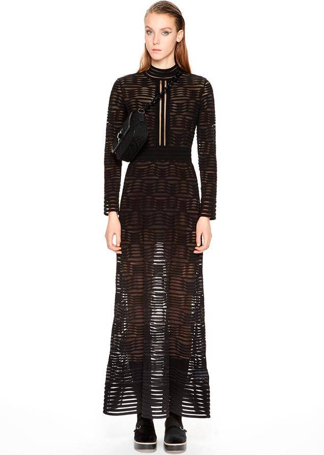 Черное полупрозрачное платье