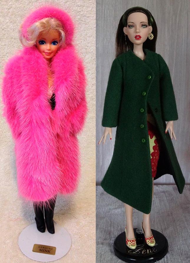 Шуба и пальто для куклы