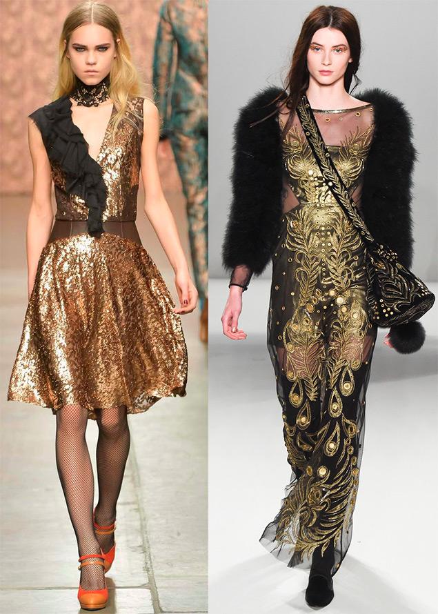 золотые нарядные платья