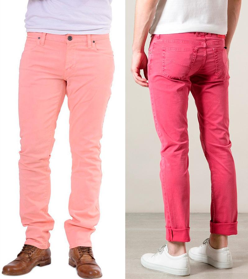 Розовые мужские джинсы