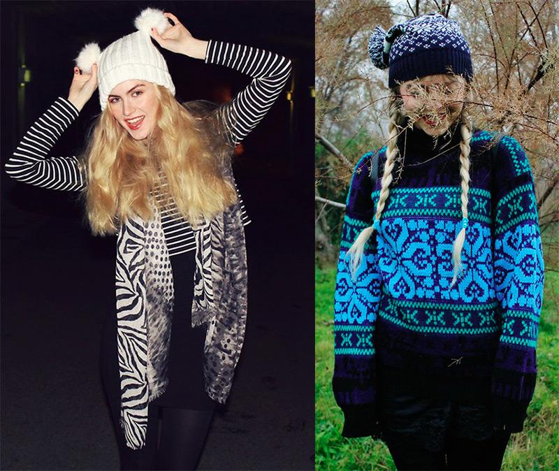 Девушки в вязаных шапочках