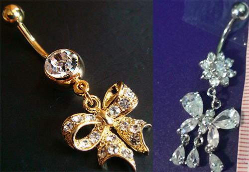 Золотые серьги и бриллианты для пирсинга пупка