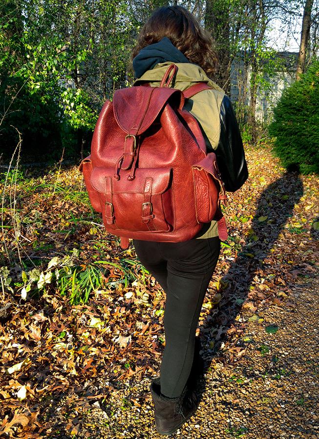 Кожаный рюкзак выходного дня