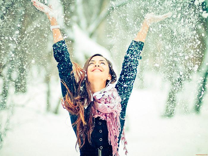 девушки в снегу фото