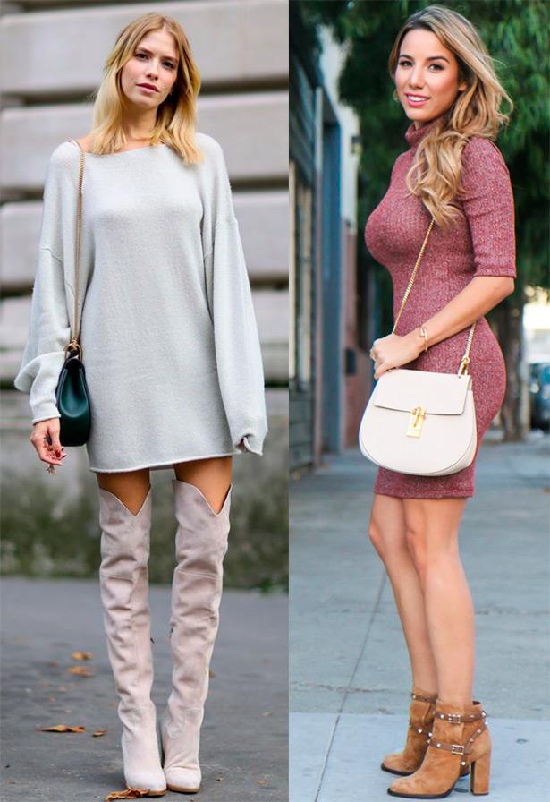 Платье-свитер – когда и с чем носить?